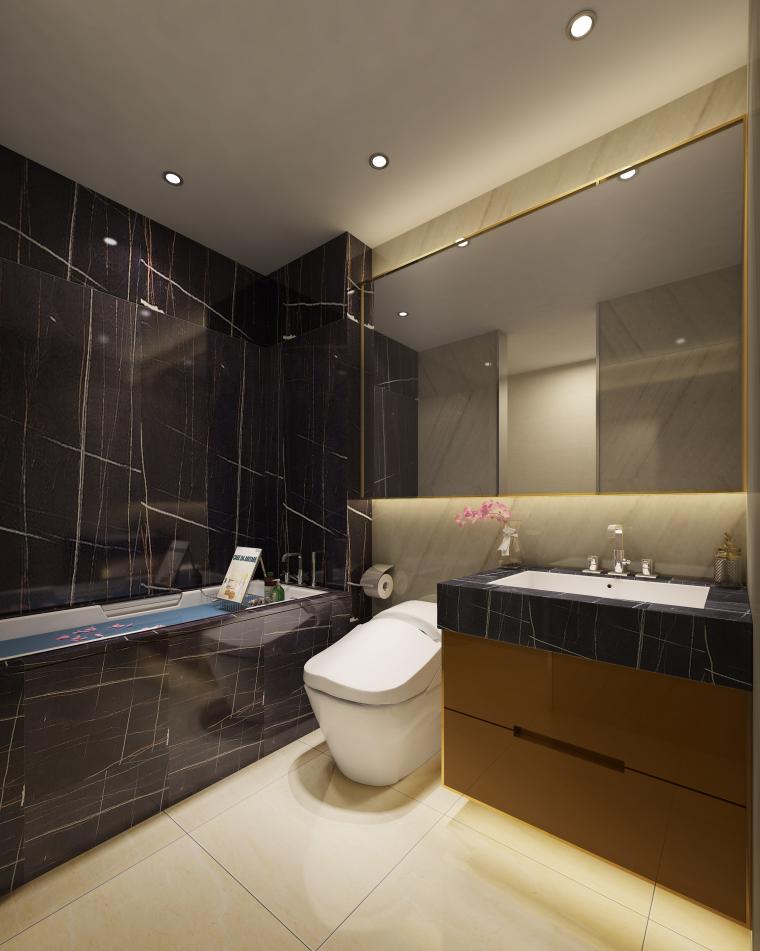 [北京]万科翡翠长安现代中式轻奢样板间设计方案+CAD全套施工图+物料书+效果图_18
