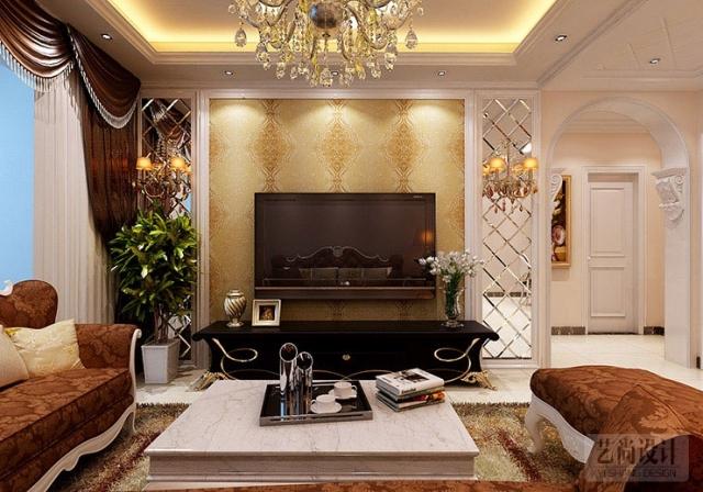 宏光协和城邦86平方两室两厅简欧风格装修效果图