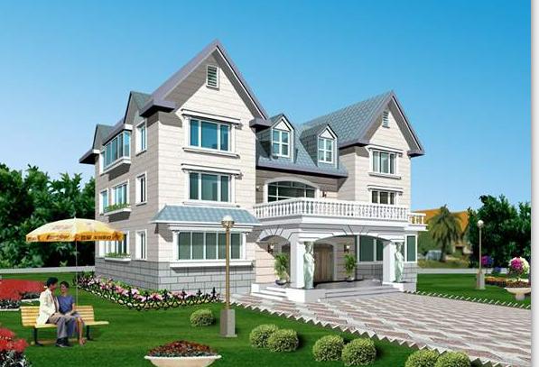 平屋顶与坡屋顶相结合四层独栋别墅建筑设计(包含CAD)