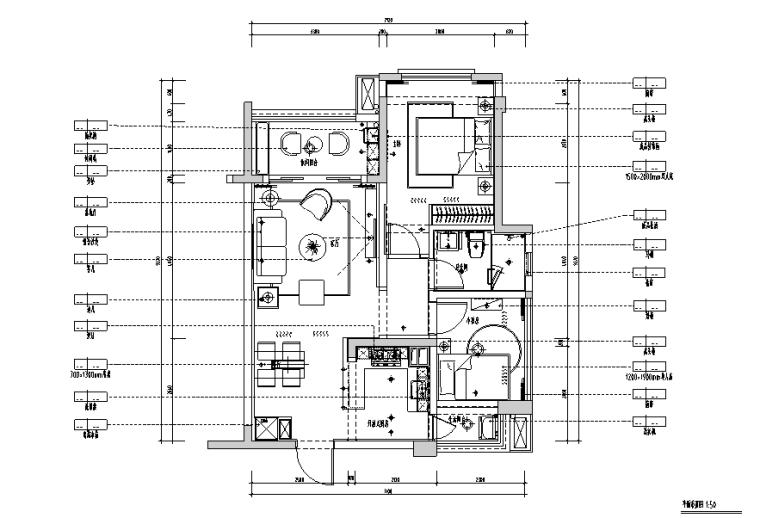 样板房三居室设计施工图(附效果图)