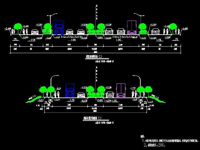 55米宽市政道路工程施工图设计全套236张CAD(含地道,箱涵,排水照明交通监控)