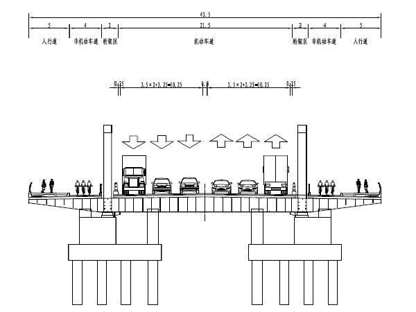 带螺旋梯道桥头堡钢桁架拱桥主桥跨河桥梁及其引道工程施工图图纸283页(含排水、强电)