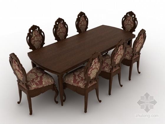 欧式桌椅组合3d模型下载