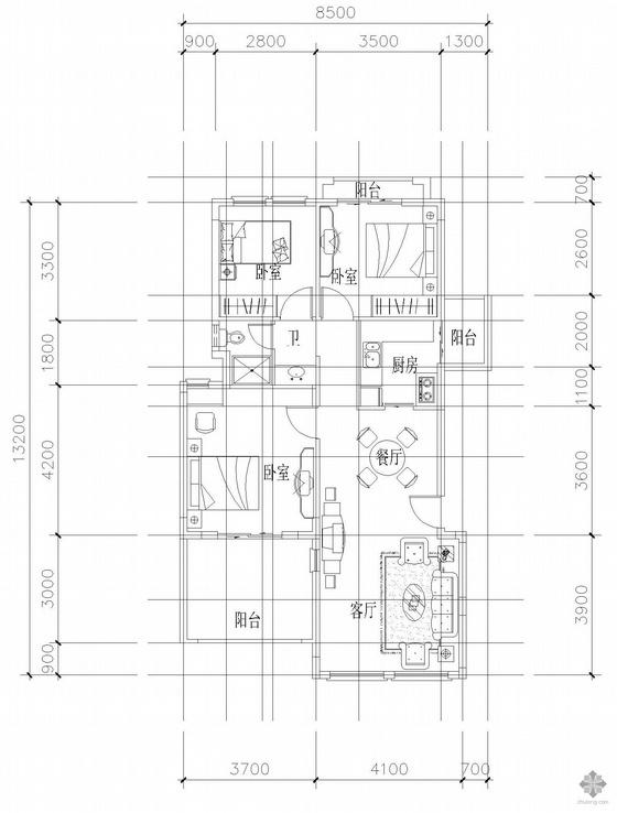 板式多层单户三室二厅一卫户型图(90)