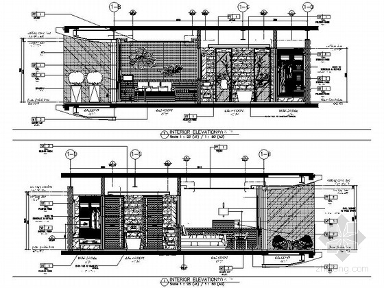[海南]雅致海滨地带五星级度假酒店客房装修施工图(含全套酒店方案)大床间立面图