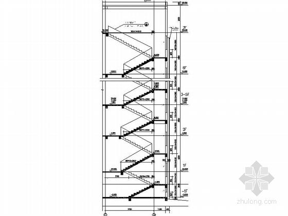 现代风格六层办公楼楼梯剖面图