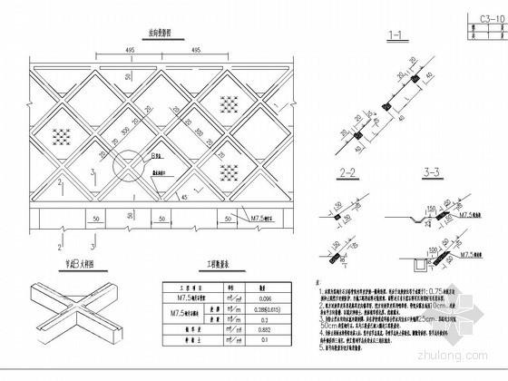 浆砌片石方格骨架内草皮护坡一般构造图