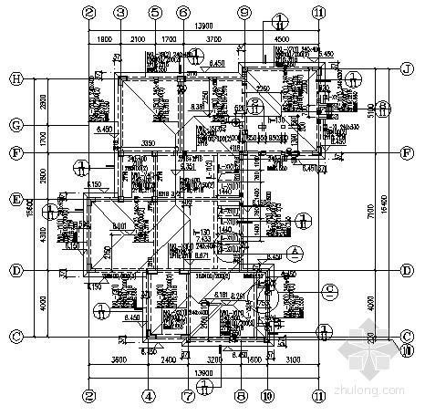 坡屋顶异形柱框架别墅结构施工图