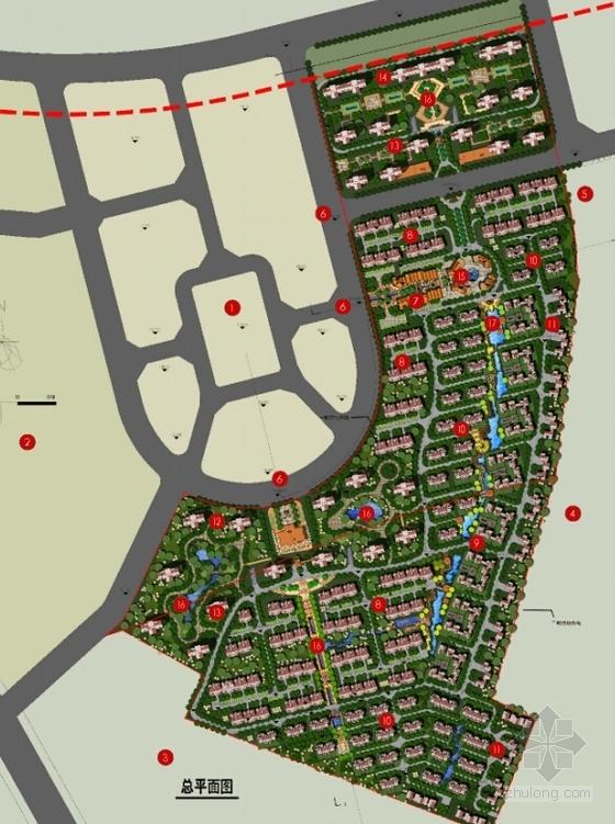 [大连]英式风情小镇住宅小区及商业规划设计方案文本-英式风情小镇住宅区及商业规划总平面图