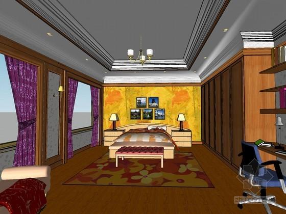 欧式卧室SketchUp模型下载