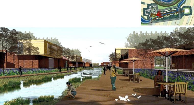 [辽宁]国家试点湿地公园景观规划设计文本-商业街效果图