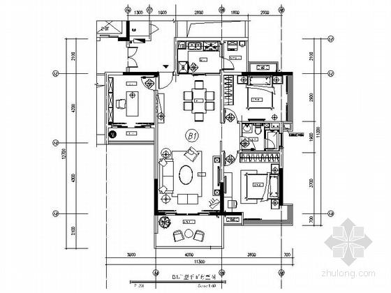 [上海]现代舒适小户型2居室室内设计CAD图