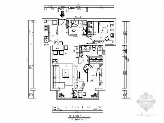 [北京]某现代两室两厅两卫平面图