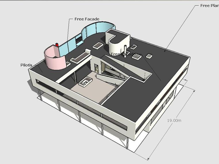 柯布西耶——萨伏伊别墅SU建筑模型