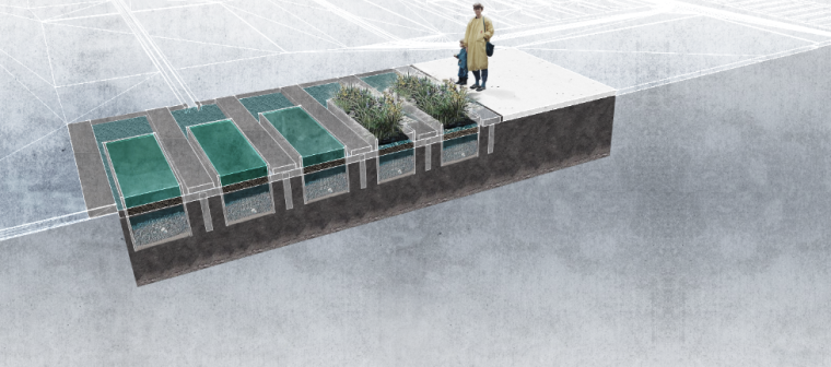 景观剖面图|植物池剖面PSD素材1