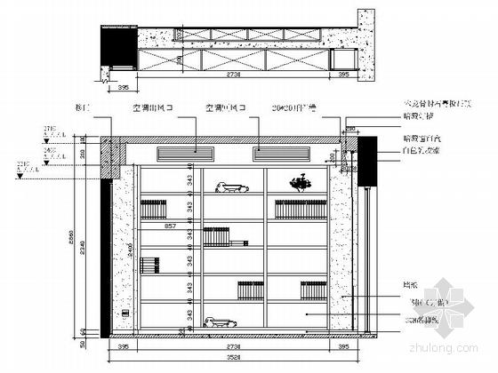 [广州]电梯洋房时尚现代四居室装修施工图书房立面图