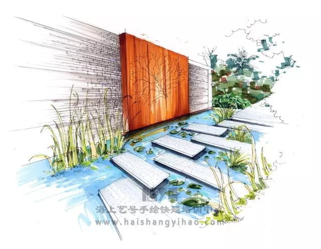 景墙的画法步骤图解析:庭院中间有道墙_3