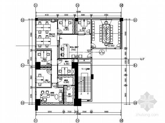 [深圳]简约时尚办公空间装修CAD施工图