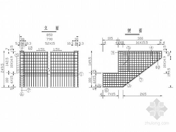 [黑龙江]连续箱梁桥耳背墙构造图