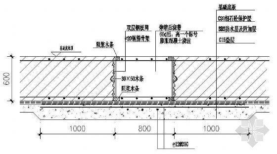 基础底板后浇带防水构造节点图