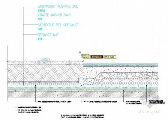 首层种植区与标准饰面区交界部位防水大样详图