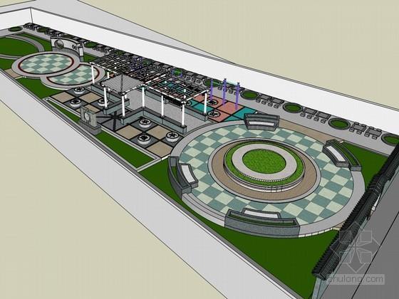 主题广场SketchUp模型下载