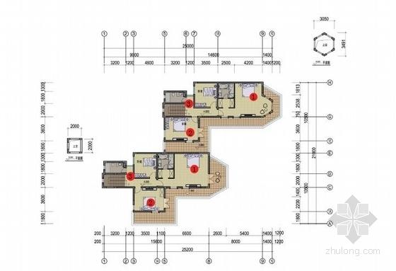 传统风情中高档精品山体住宅建筑平面图