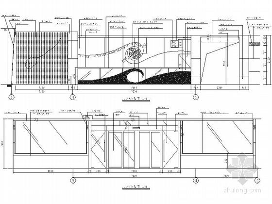 [河北]简约现代休闲会所装修施工图(含效果)门厅立面图