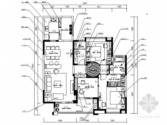 [浙江]精装美式乡村三居室样板间CAD装修施工图(含效果)
