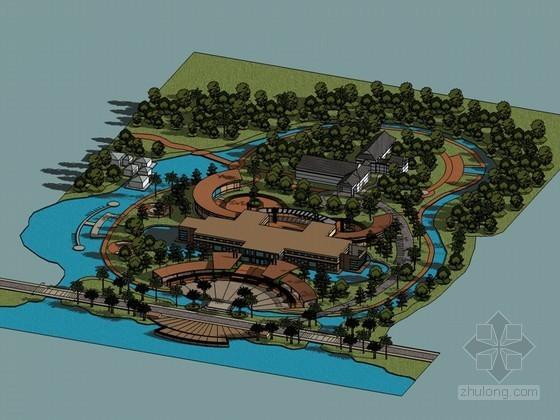 环岛公园SketchUp模型下载