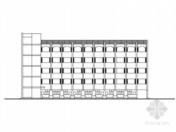 [福建]五层框架结构玻璃幕墙高等院校教学楼建筑施工图