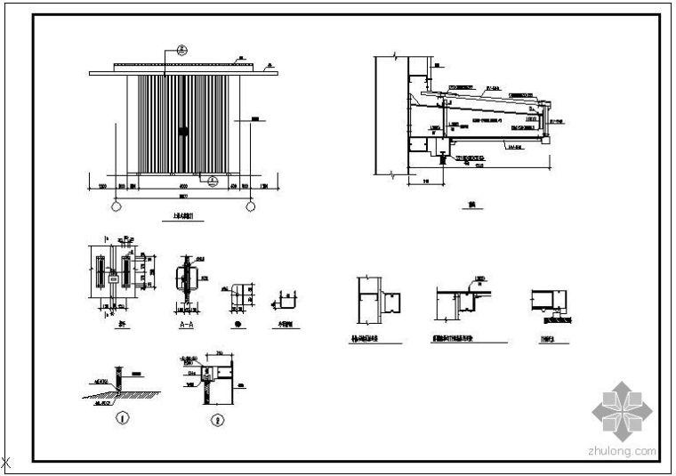 某推拉门结构节点构造详图
