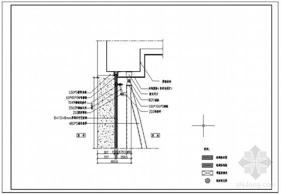某点式幕墙节点构造详图