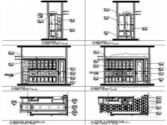 [南通]奢华五星级酒店美国厅贵宾室CAD装修图备餐间立面图