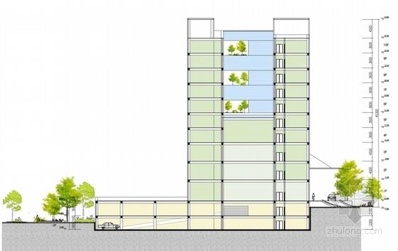 [湖北]10层现代风格生产调度通信办公楼建筑设计方案文本(知名设计院)-10层现代风格生产调度通信办公楼剖面楼