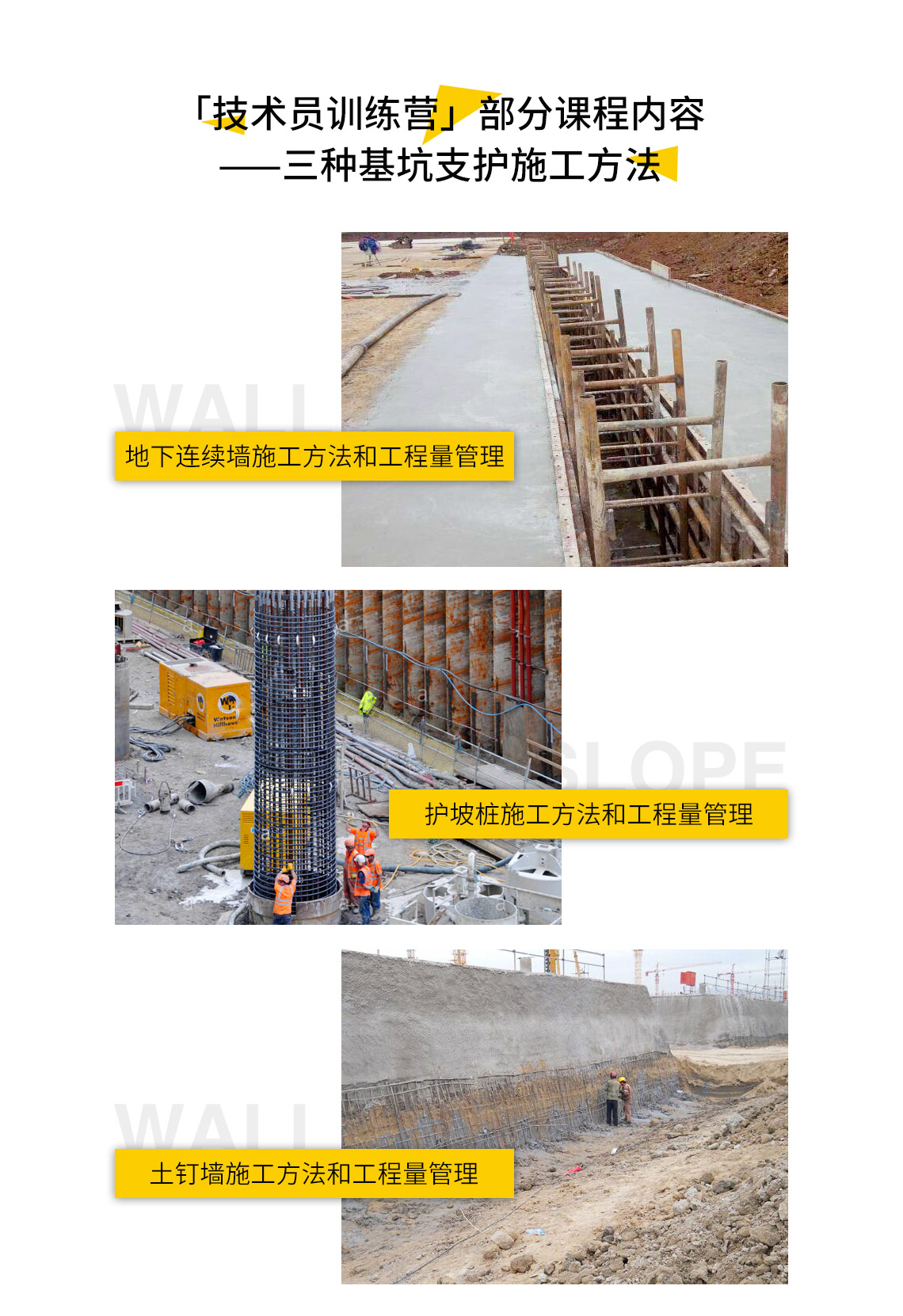 基坑支护、地下连续墙施工方法、地下连续墙工程量管理、护坡桩施工方法、护坡桩工程量管理、土钉墙施工方法、土钉墙工程量管理、房建施工技术员晋升训练营、土方工程