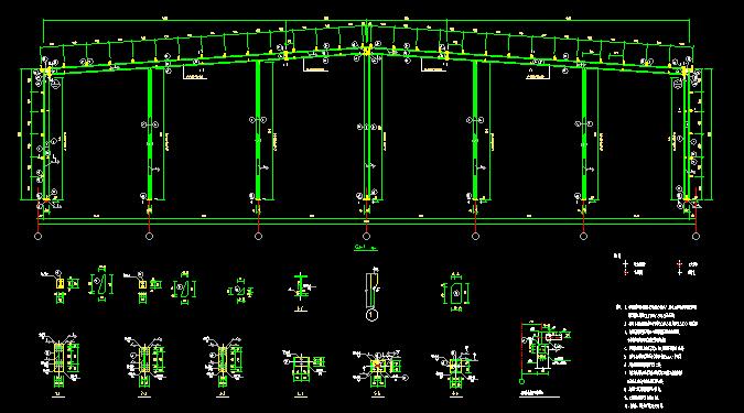 单层双跨实腹式门式刚架结构车间厂房结构施工图_1