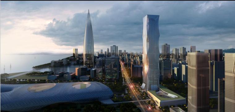 [深圳]超高层塔式帷幕立面办公综合体建筑方案文本(含多媒体)