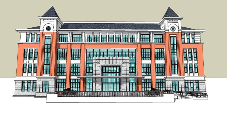 欧式风格教学楼建筑设计SU模型