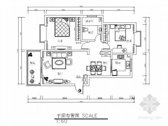 [贵阳]花园洋房简欧风格两居室样板间装修施工图(含效果)
