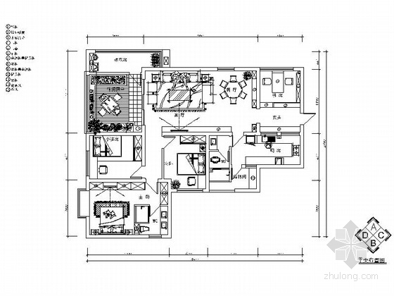 [贵州]云岩区简约欧式风格三居室样板间CAD施工图(含效果图)