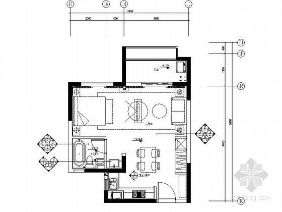 [上海]小型现代老年公寓室内装修施工图(含效果)