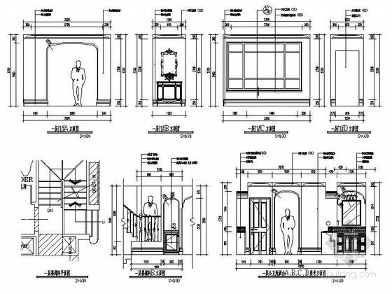 [辽宁]浪漫欧式风格两层别墅样板房室内装修施工图(含实景图)门厅立面图