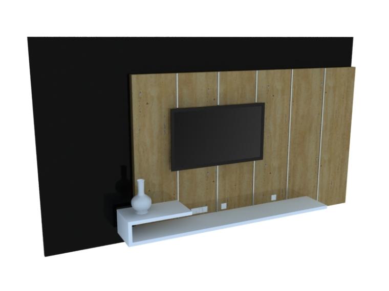 现代简约背景墙3D模型下载