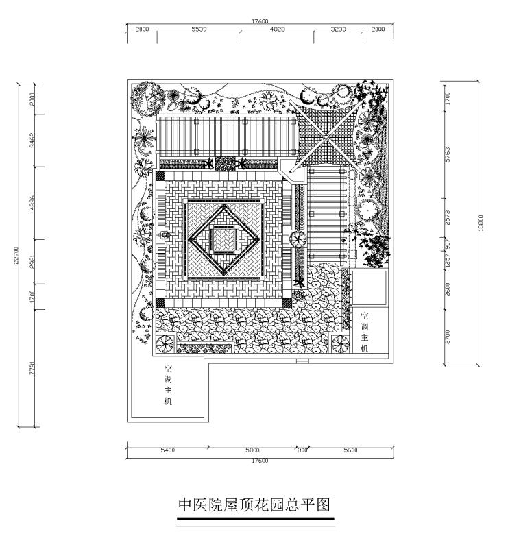 21套屋顶花园CAD施工图(7)某中医院屋顶花园设计6例