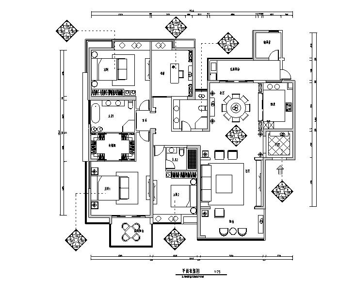 简约四居室住宅设计施工图(附效果图)