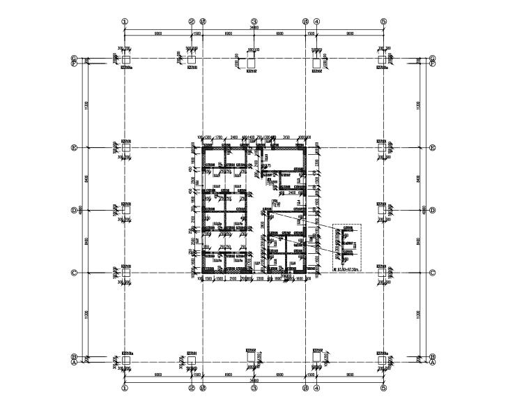39层结构框架筒办公楼图纸施工图(cad,64张)电视局密密核心图片