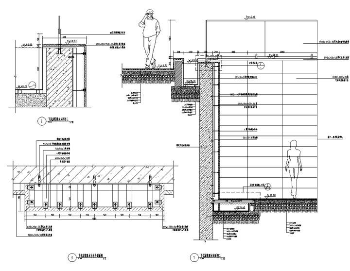 [北京]科技商务园营销体验区景观施工图(LEED黄金认证项目)-下沉庭院跌水详图