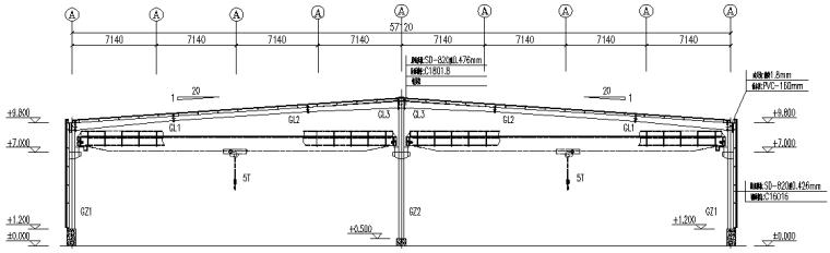 中阳石业门式刚架钢结构厂房(CAD,16张)_3