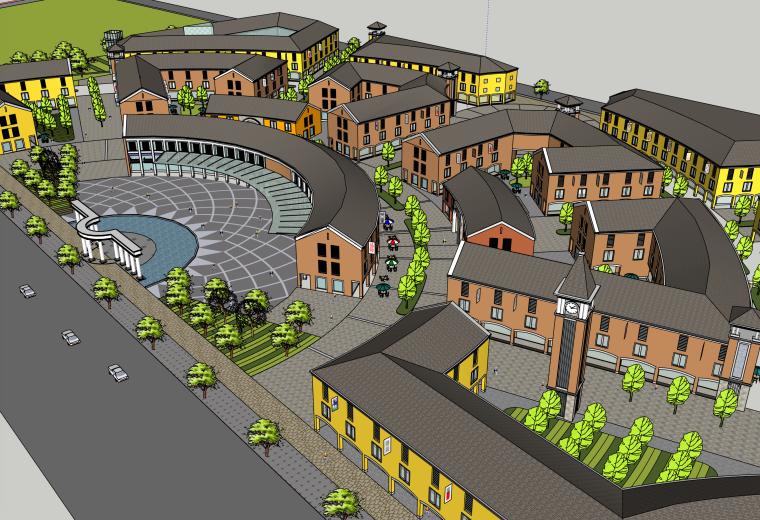 现代步行小镇建筑SU模型